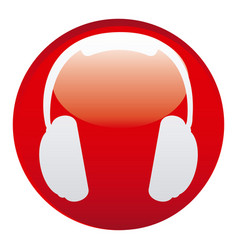 red headphone emblem icon vector image