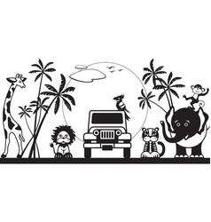 safari in jungle with wild animals vector image