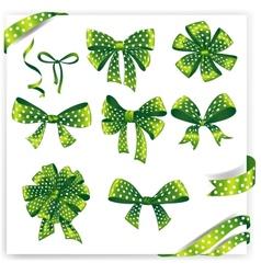 Set of green polka dot gift bows with ribbons vector image vector image
