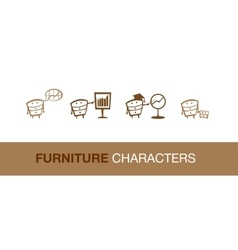 Simple furniture characters vector