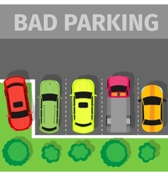 Car Parked in Inappropriate Way on Lawn Pavement vector image vector image