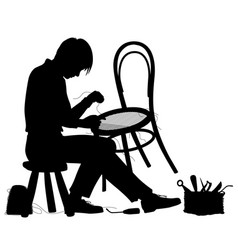 chair maker silhouette vector image vector image