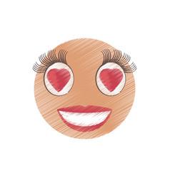 Drawing love girl emoticon image vector