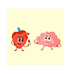 funny human heart and brain characters logic vector image