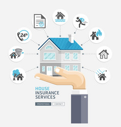 house insurance services business hands holding vector image vector image
