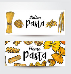 Banners with uncooked italian pasta and place for vector