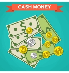 Cartoon money cash green dollars and coins vector image vector image