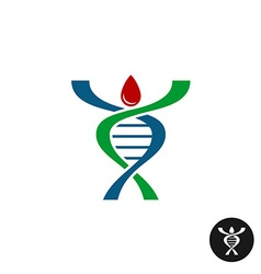 DNA spiral shaped man silhouette logo Red blood vector image vector image