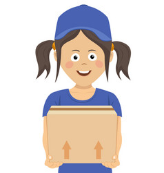 happy teenager courier holding a cardboard box vector image vector image
