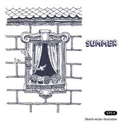 Summer beautiful opened window on brick wall vector image vector image