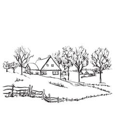 Winter background house in the snow landscape vector image