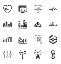 16 wave icons vector image