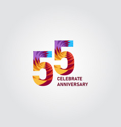 55 year anniversary elegant rainbow template vector