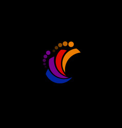 Abstract rainbow logo with circles with circles vector
