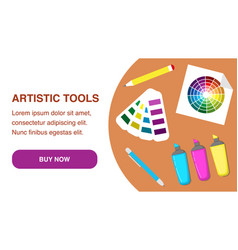 Artistic tools web page template vector