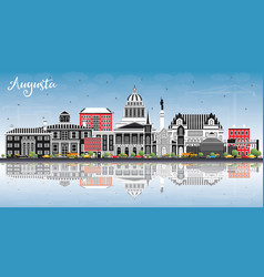 augusta maine city skyline with color buildings vector image