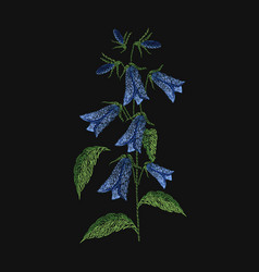 Bellflower embroidered with blue and green threads vector