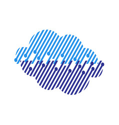 blue digital tech cloud logo design sign vector image