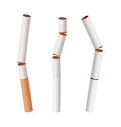 Broken cigarettes set smoking kills vector