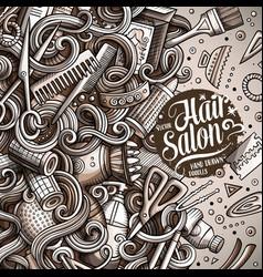 Cartoon cute doodles hair salon frame design vector