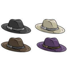 cartoon old mafia retro hat icon set vector image