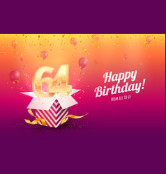 Celebrating 64th years birthday vector