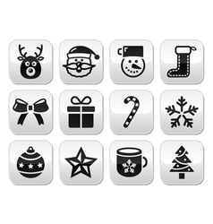 Christmas buttons set - santa present tree vector