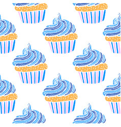 colored seamless pattern with cupcakes in hand vector image