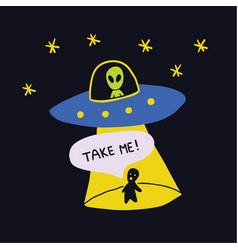 Colorful cartoon sketch style print- spaceship ufo vector