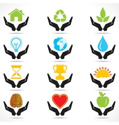 conceptual hand icon with different object icons vector image