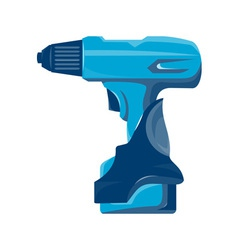 Cordless drill side view retro vector
