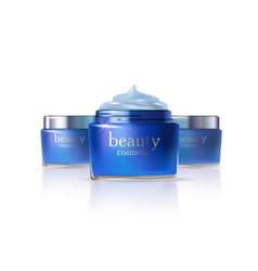 cosmetic product blue cream or liquid vector image
