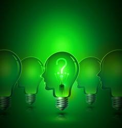 Creative Thinking Human Head Light Bulbs vector