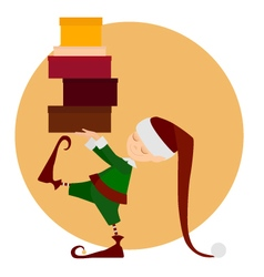 Cristmass elf with gifts vector image