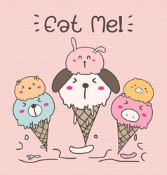 Cute animal ice cream vector