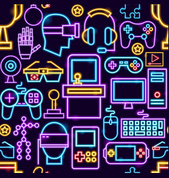 Cyber game seamless pattern vector