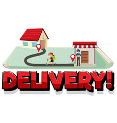 delivery logo with pin locate on house vector image