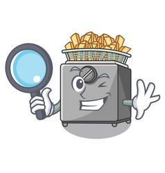 Detective character deep fryer on restaurant vector