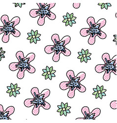 Doodle exotic flowers with petals style background vector