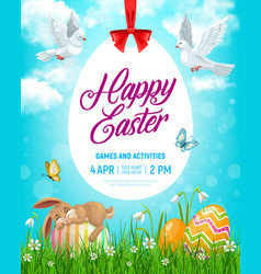 easter holiday flyer with cartoon rabbit vector image
