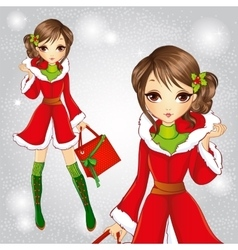 Fashion Brunette Girl In Santa Claus Coat vector image