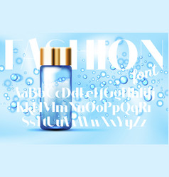 Fashion font with blue bubbles bottles mockup vector