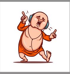 Fat buddha listens loud music in headphones vector