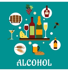 Flat alcohol drinks with snacks vector