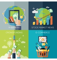 Flat design concepts for finance economy vector image