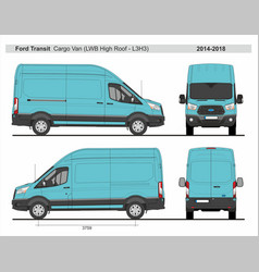 Ford transit cargo delivery van l3h3 2014-2018 vector