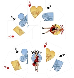 Four aces and Caucasian Joker playing cards noir vector image