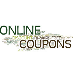 free online coupons text background word cloud vector image