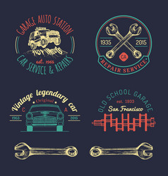 Garage logos set car repair emblems collection vector