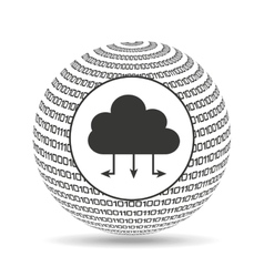 Globe binary concept cloud connected vector